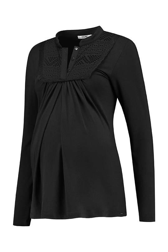schwarzes, festliches Umstandsshirt mit Stillfunktion mit BIO Tencel® von Love2Wait