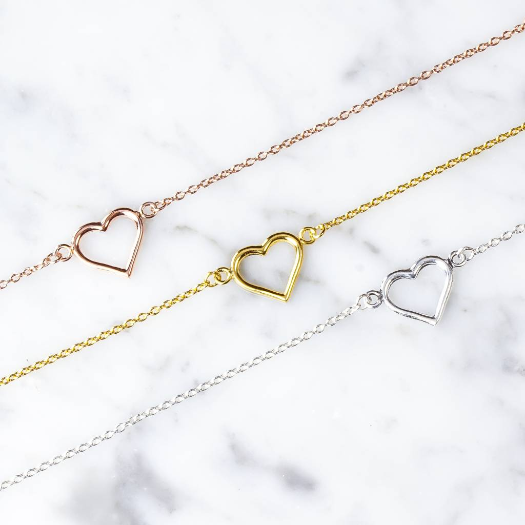 Bracelet with heart of 925 silver rose gold plated