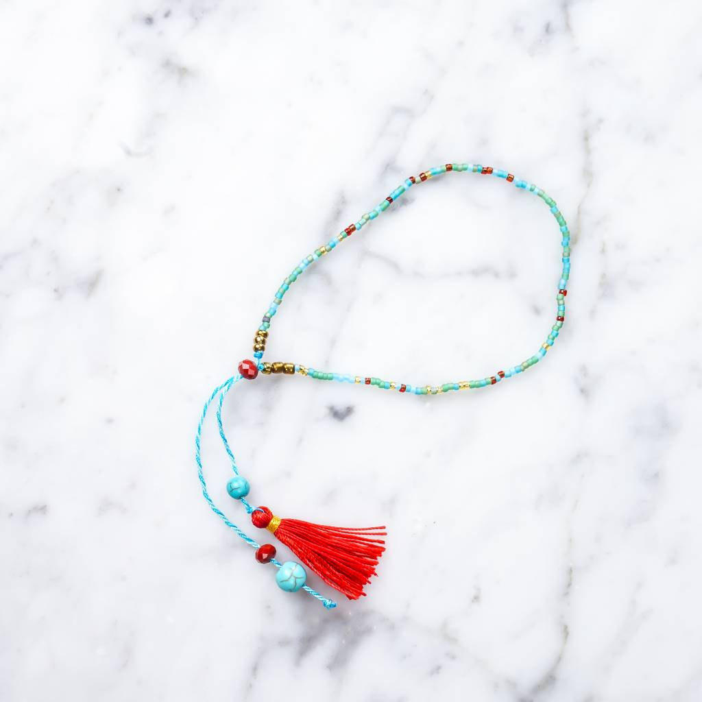 Bracelet with Tassel | Turquoise
