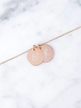 Double initial bracelet | Rose gold plated