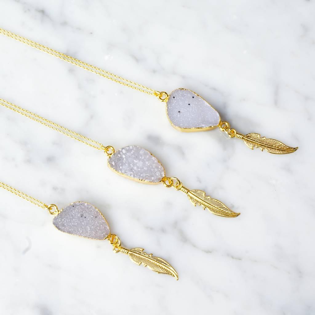 Quarz mit Feder | Light Violette | gold