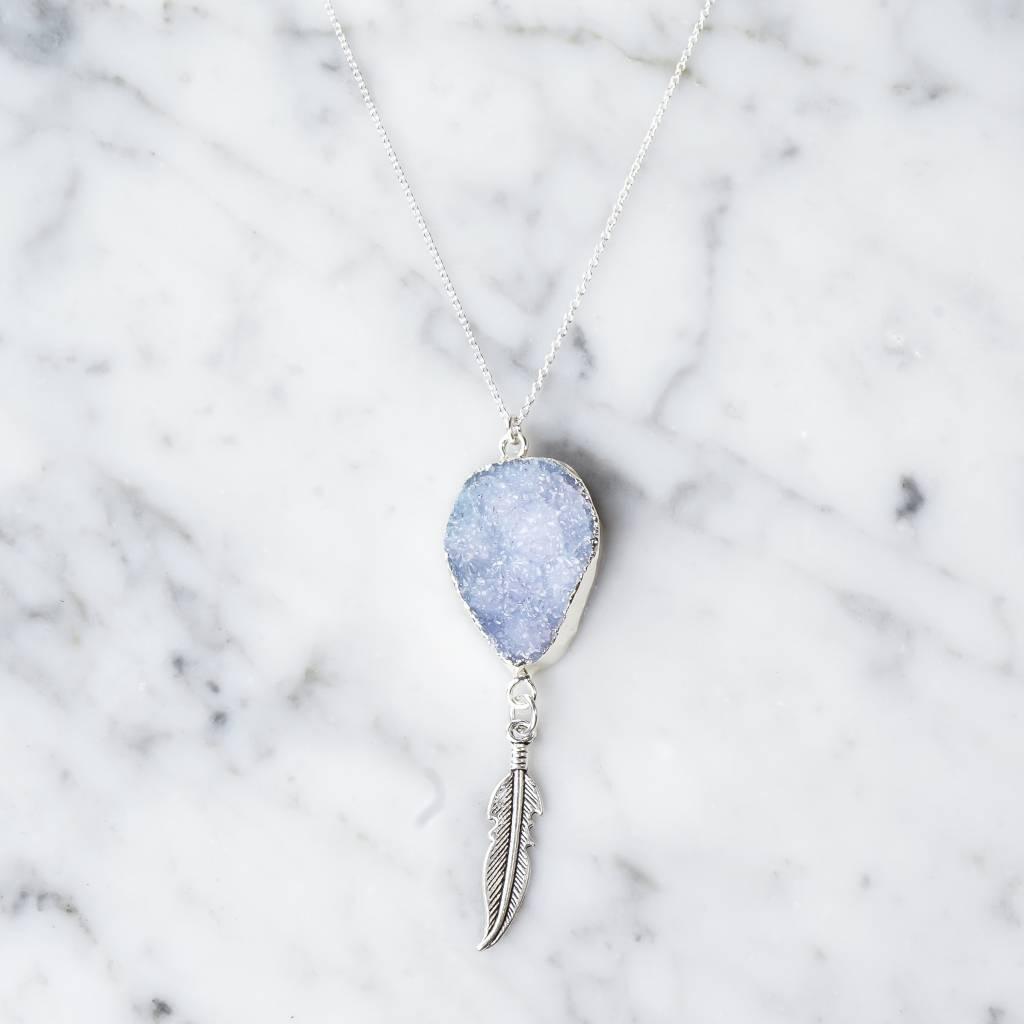 Quartz with feather | Sky Blue | silver