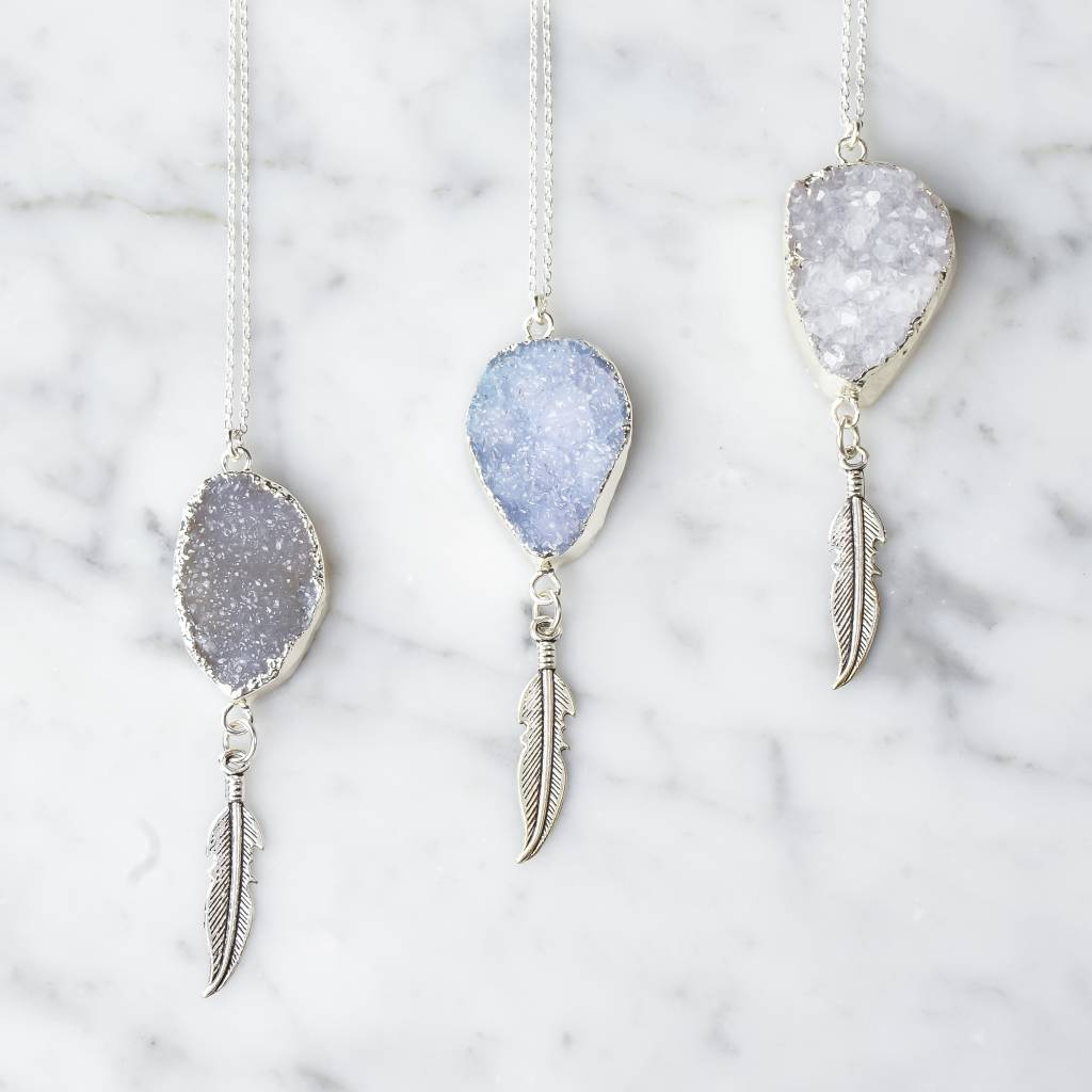 Quartz crystal with feather | Sky Blue | silver