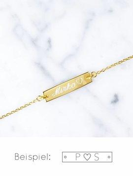 Bar Armband mit Herz | vergoldet