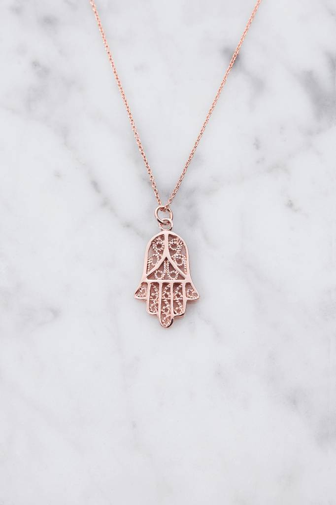 Necklace with fatima pendant | rose gold plated 925 silver