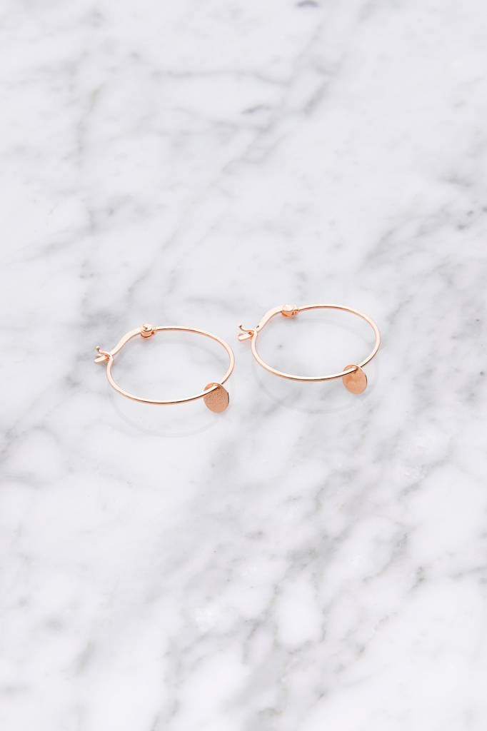 Hoop earrings with La Concha plate | rose gold plated 925 silver
