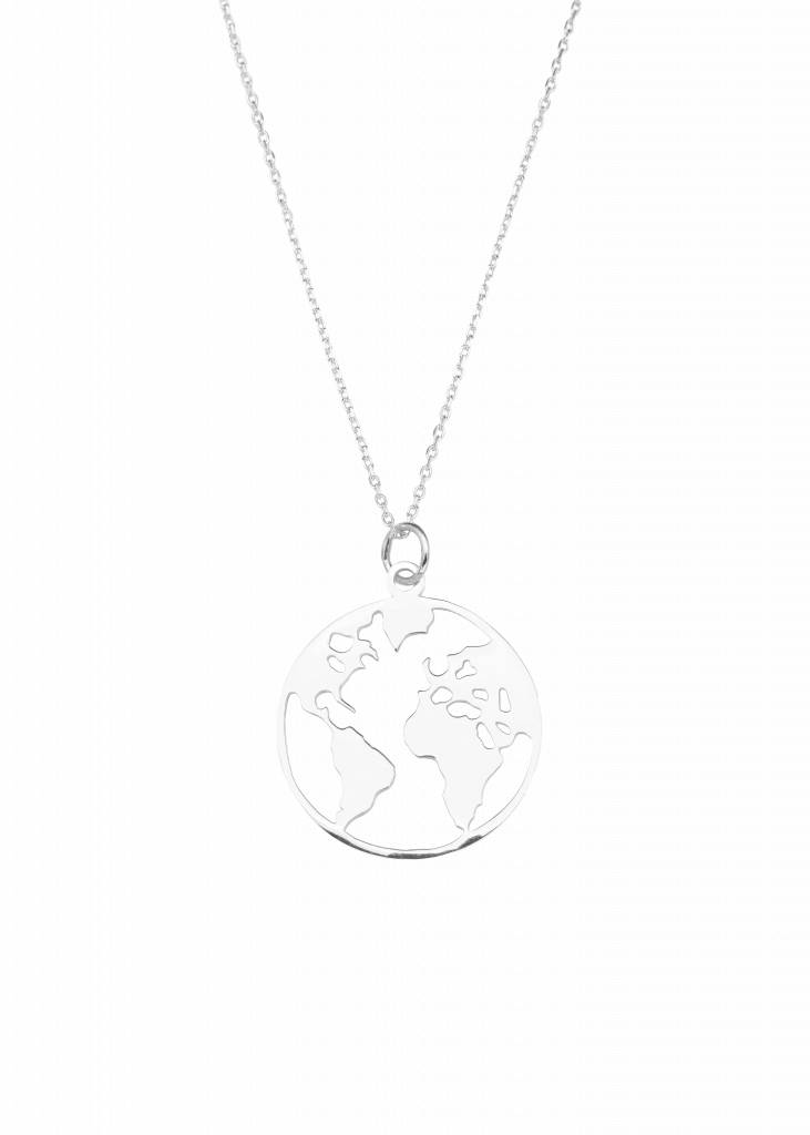 Necklace with World pendant   925 silver