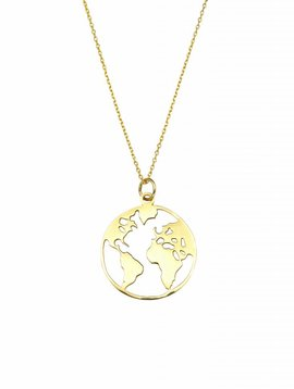 World Necklace   gold plated