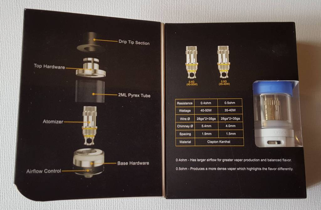 Aspire Atlantis EGO Clearomizer Beschreibung in der Box