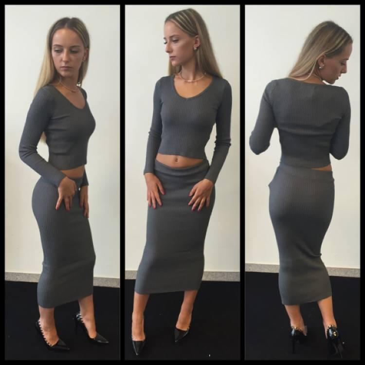 Uitgelezene 2-Piece bandage Dress Crop top + pencil skirt Grey - Victorija's DF-26