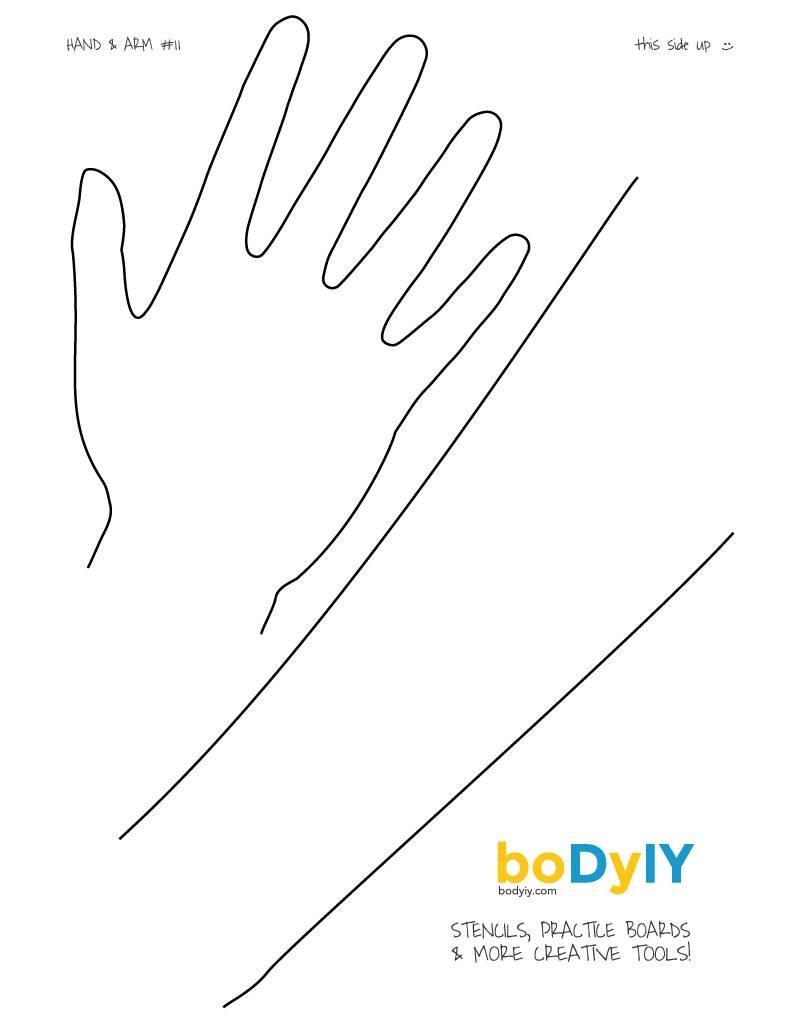 boDyIY Oefenbord Hand & Arm #11. Afwasbaar bord op A4 formaat.