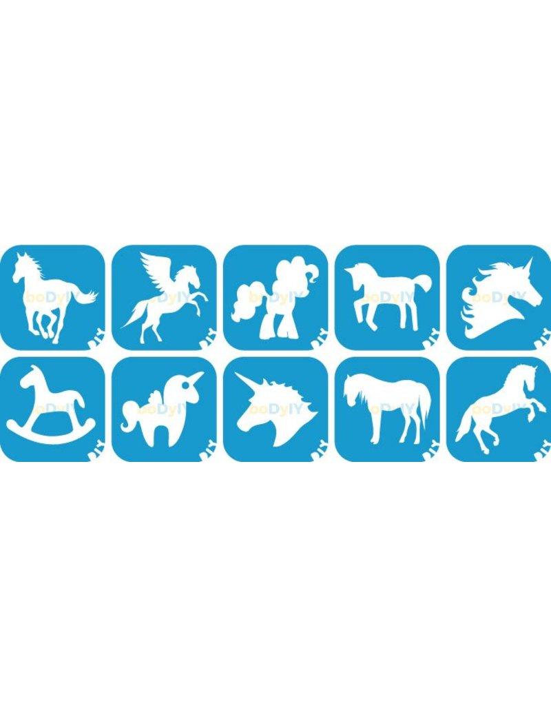 boDyIY Paarden & Unicorn glittertattoos van boDyIY (10 sjablonen)