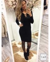 Lace up Dress Black