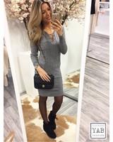 Lace Up Dress Grey