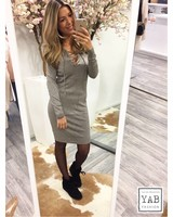 Lace Up Dress Taupe