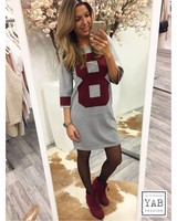 Eight Sweater Dress Grey/Red
