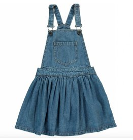 Finger in the Nose Trouble blue denim overall dress girl