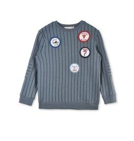 biz striped sweater badges