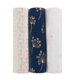 Aden & Anais Swaddle 3-pack metallic gold