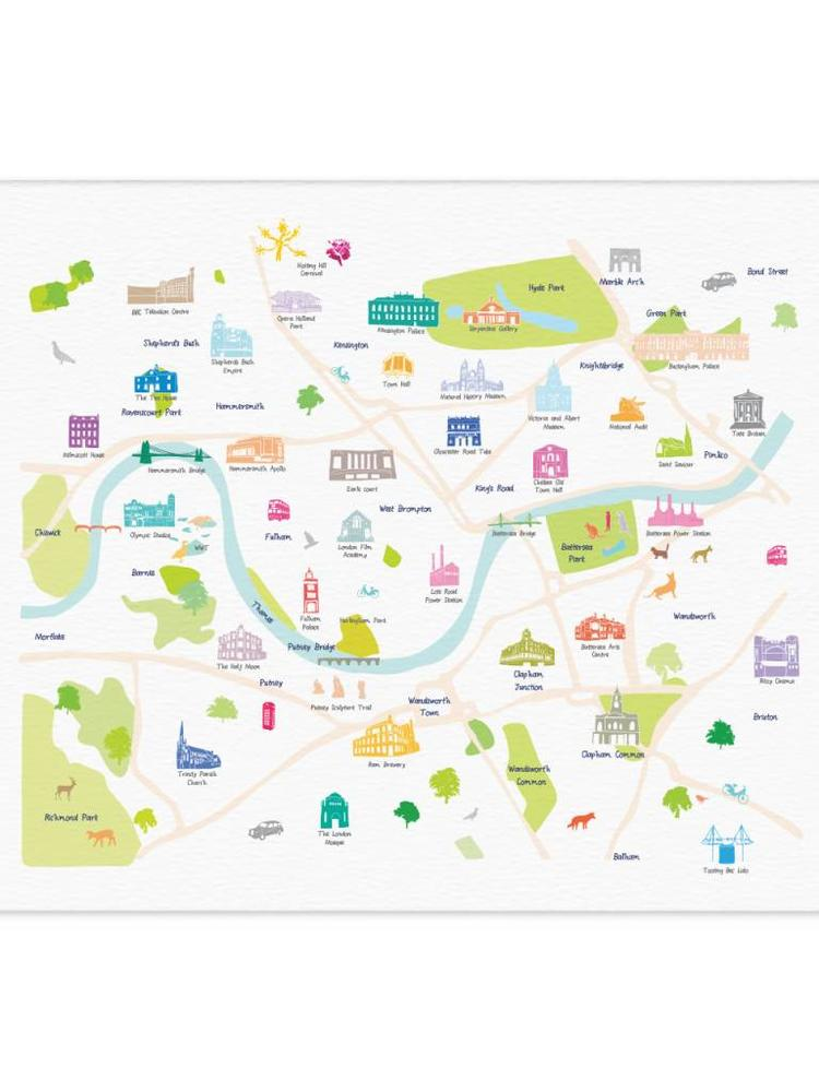 South West London Map.Holly Francesca Map Of Central South West London Print Truce