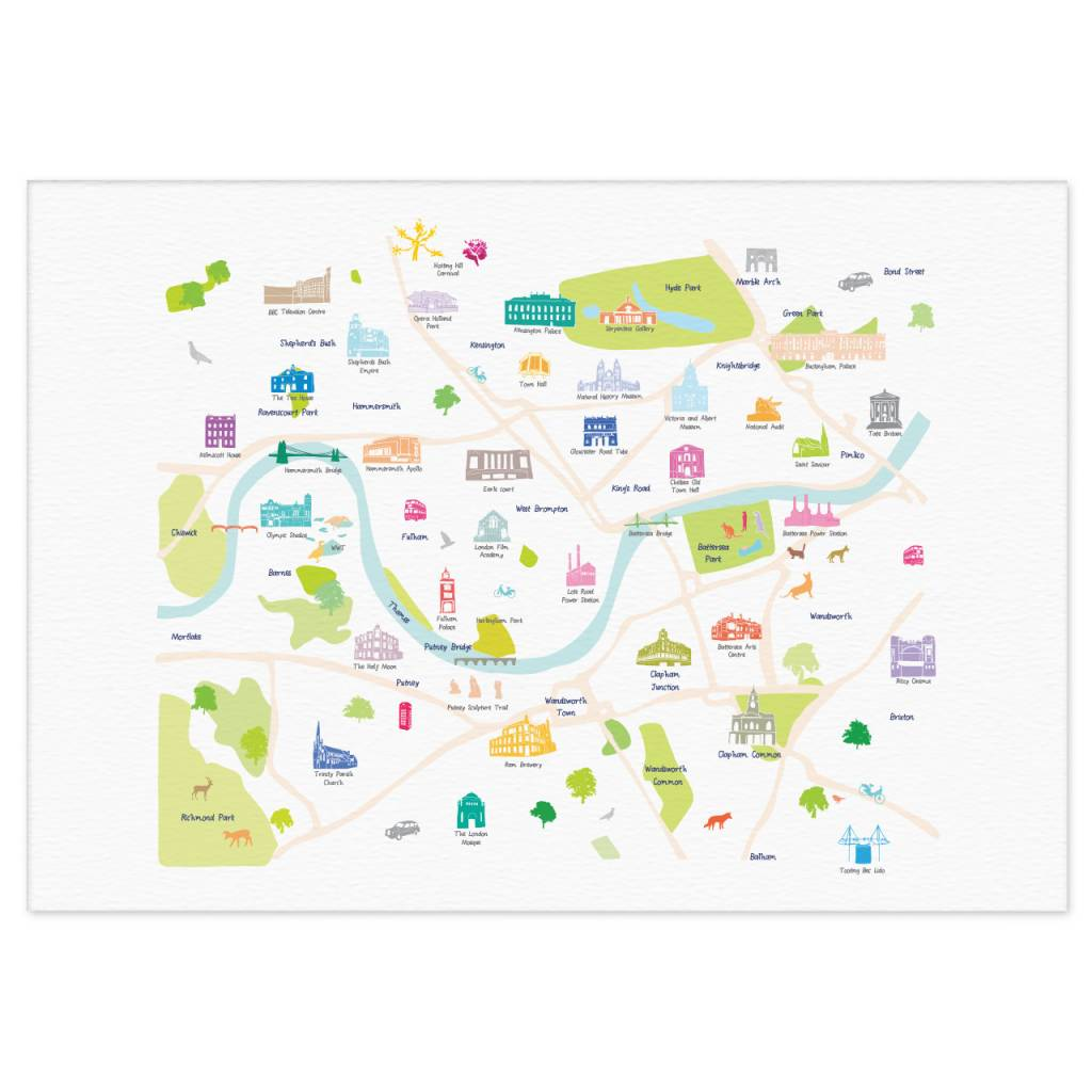 Richmond London Map.Holly Francesca Map Of Central South West London Print Truce