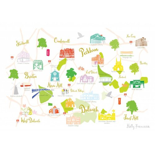 Holly Francesca Map of Dulwich, Brixton and Peckham A3