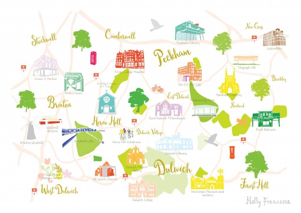 Holly Francesca Holly Francesca Map of Dulwich, Brixton and Peckham A3
