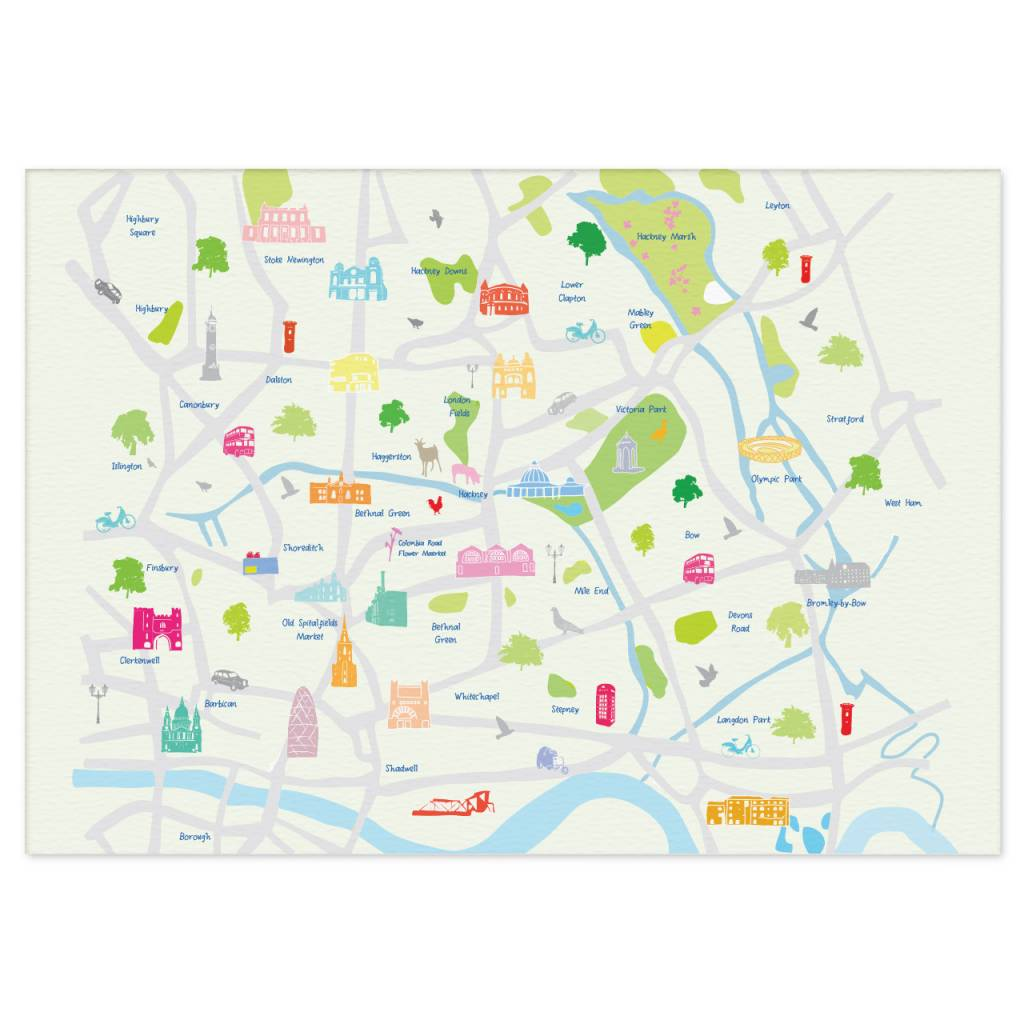 Holly Francesca Map of East London Print Truce – Map of East London