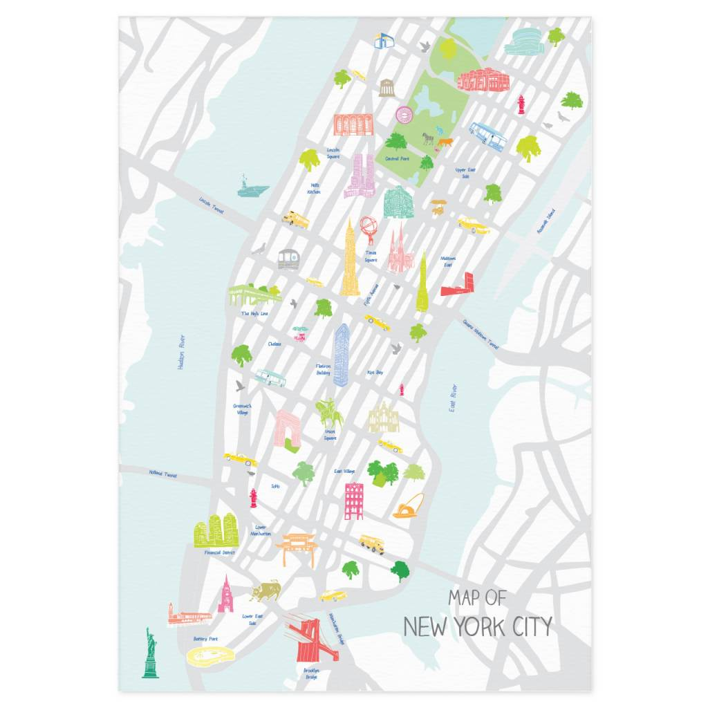 New York Map Of Cities.Holly Francesca Holly Francesca Map Of New York City A3 Truce