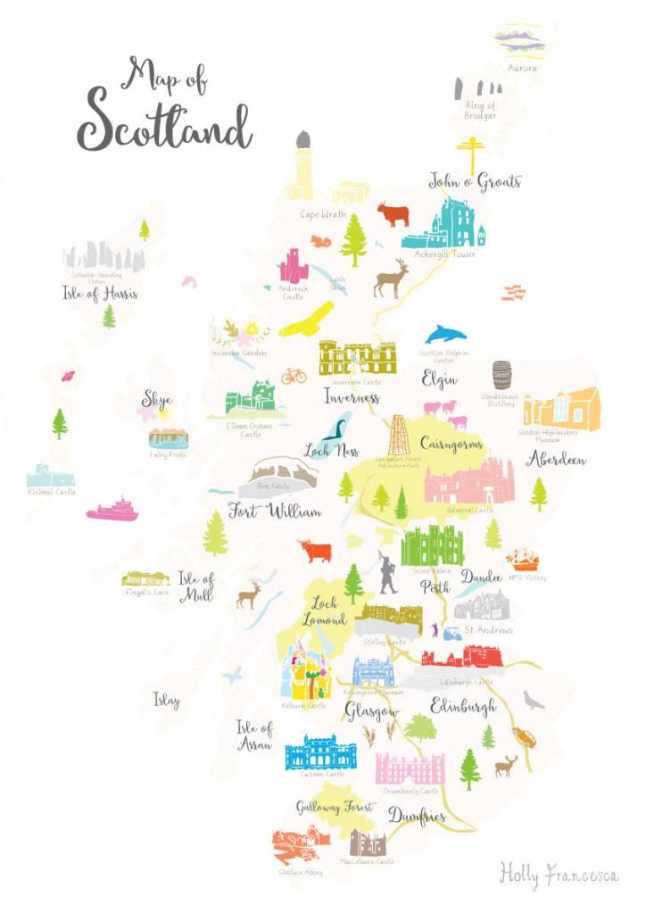 Holly Francesca Map of Scotland Print - Truce