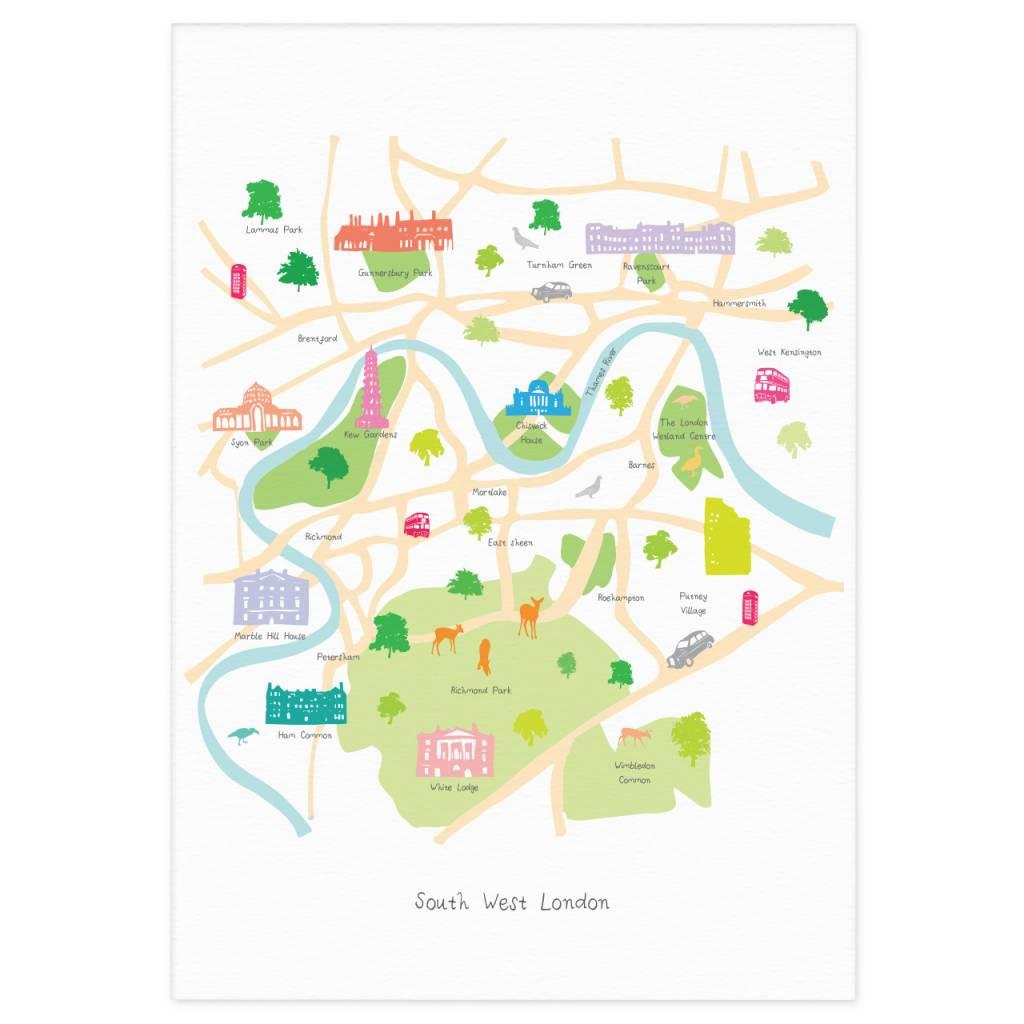 Richmond London Map.Holly Francesca Map Of South West London Print Truce