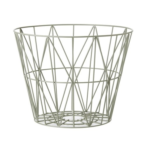 ferm LIVING Wire Basket Dusty Green Medium