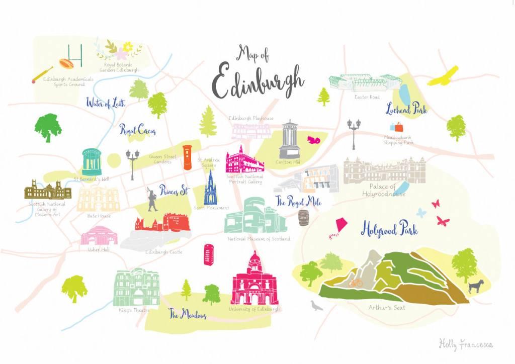 Holly Francesca Map of Edinburgh Print - Truce