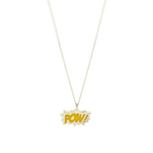 "Laura Gravestock Dainty ""POW"" Necklace Silver and Yellow - 16"""