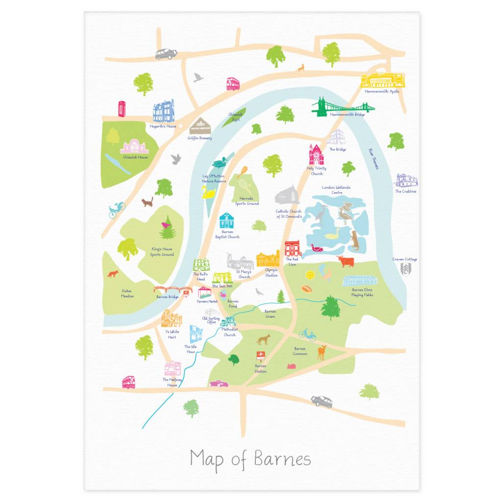 Holly Francesca Map Of Barnes Print Truce