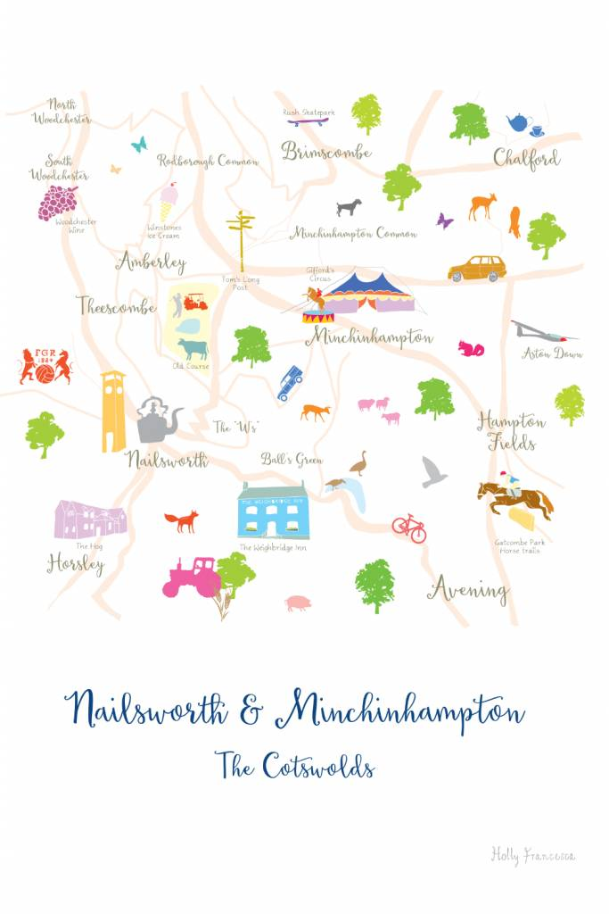 Holly Francesca Holly Francesca Map of Nailsworth & Minchinhampton - A4