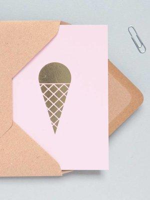 Ola Ola Foil Blocked Cards: Ice Cream Pink/Brass