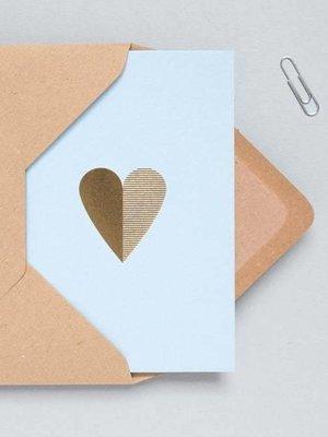 Ola Ola Foil Blocked Cards: Heart Light Blue/Brass
