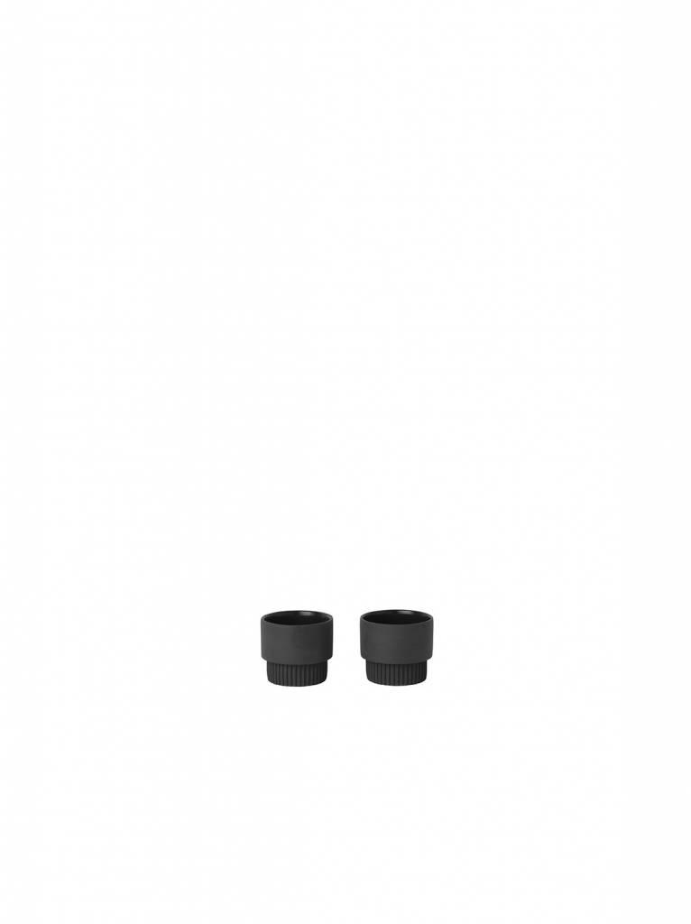 ferm LIVING Ferm Living Groove Egg Cups - Dark Grey (set of 2)
