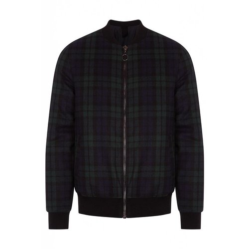 HYMN London 'DELTA' - Wool Check Bomber Coat