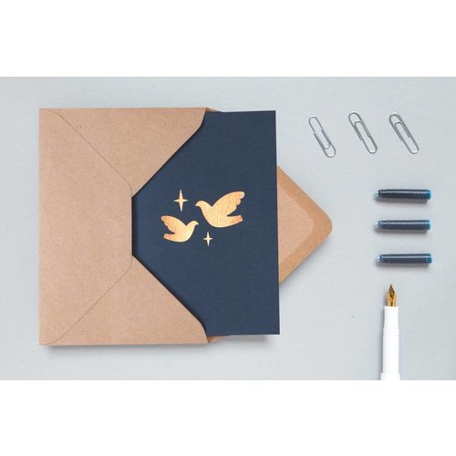 Ola Foil Blocked Cards: Two Doves Navy/Rose Gold