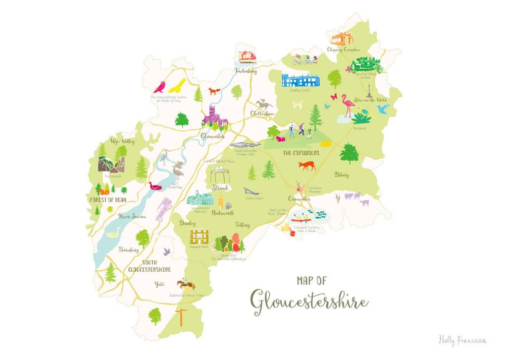 Map Of Gloucestershire Holly Francesca Map of Gloucestershire A3   Truce Map Of Gloucestershire