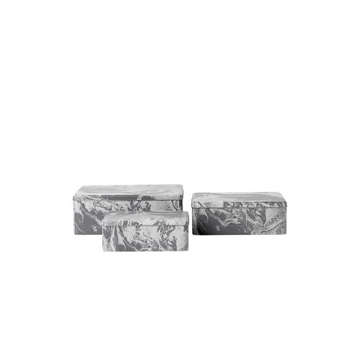 ferm LIVING Tin Boxes Marble (Set of 3)