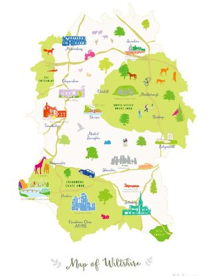 Holly Francesca Map of Wiltshire A3
