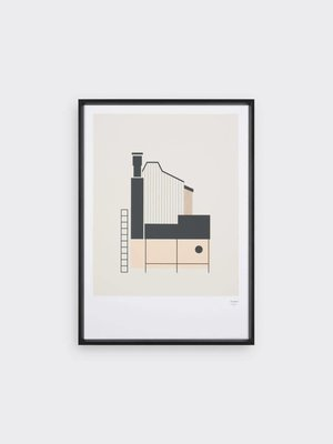 Tom Pigeon Tin Shed 1 - Coral Print - A3