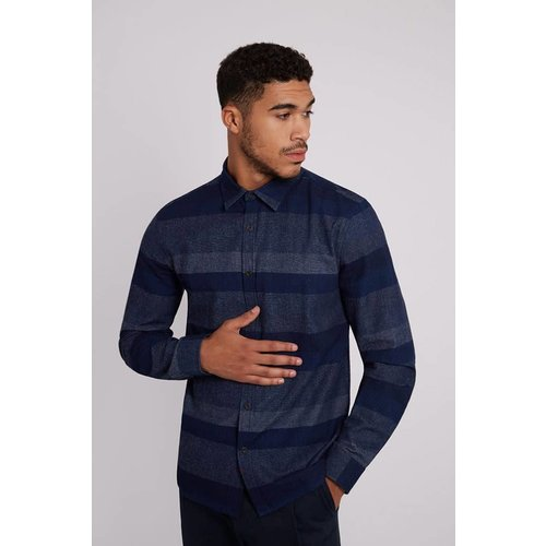 HYMN London 'BENNING' Horizontal Engineered Navy Stripe Shirt - Small