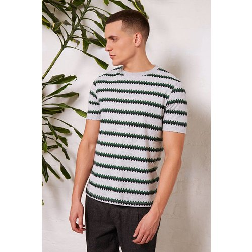 HYMN London 'JONESY' Printed Geometric Striped T-Shirt - Small