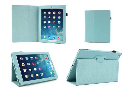 Apple iPad 2 / 3 / 4 - Book Case Hoes - Aqua Blauw
