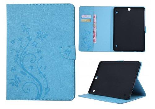 Blauw Creatieve Tablet Hoes met Bloemen Design Galaxy Tab S2 8.0