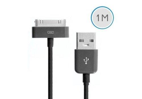 1 meter 30-pins USB oplaad data kabel voor Apple iPhone 3GS/4/4S iPad 1/2/3 en iPod - zwart